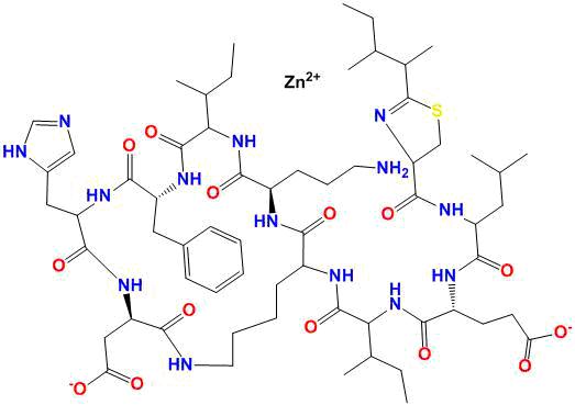 Estructura química de bacitracina zinc